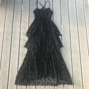 FREE PEOPLE Black Tiered Lace Appliqué Maxi Dress